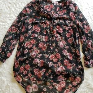 Tops - Sheer floral button up
